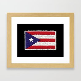 Puerto Rican flag with distressed textures Framed Art Print