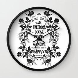 Freedom & Books & Flowers & Moon Wall Clock