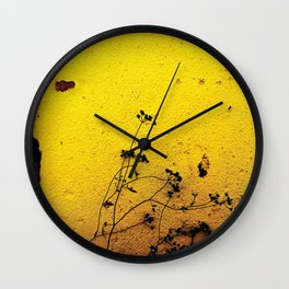 Minimal flora - Yellow wall and flowers Wall Clock