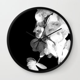 White Orchids Black Background Wall Clock