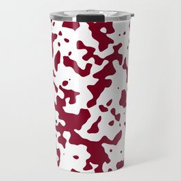 Spots - White and Burgundy Red Travel Mug