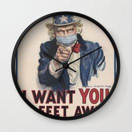 Retro Uncle Sam I want you Social Distancing Tee Virus protection Wall Clock