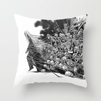 scary Throw Pillows featuring Scary Soul by bimorecreative