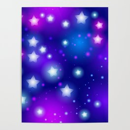 Milky Way Abstract pattern with neon stars on blue background Poster