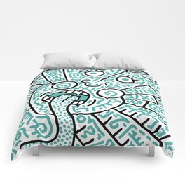 """""""The Face"""" - inspired by Keith Haring v. teal Comforters"""