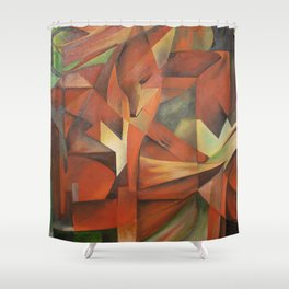 Foxes - Homage to Franz Marc (1913) Shower Curtain