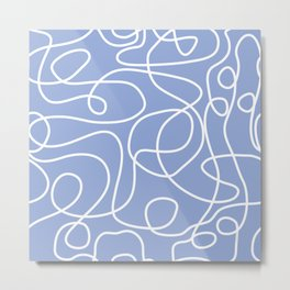 Doodle Line Art | White Lines on Periwinkle Metal Print