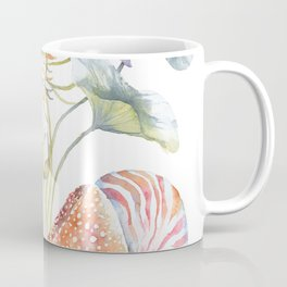 Nautilus and Lotus Surreal Watercolor Sea Animal Botanical Design Coffee Mug