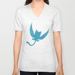 A Small Exceed of Fairy Tail Anime - Blue Happy Unisex V-Neck