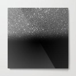 Black & Silver Glitter Ombre Metal Print