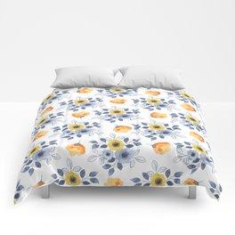 Elegant blue orange yellow watercolor hand painted floral Comforters