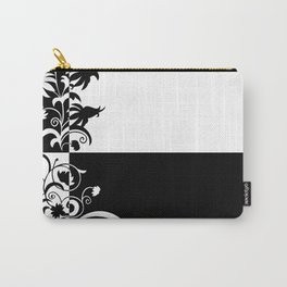Abstract floral ornament in black and white colors Carry-All Pouch