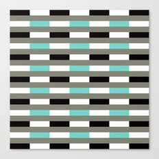 Turquoise, black & gray line pattern Canvas Print