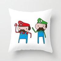 mario bros Throw Pillows featuring Mario Bros. by Justin Temporal