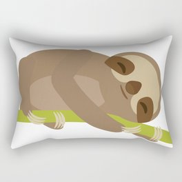 funny and cute Three-toed sloth on green branch Rectangular Pillow