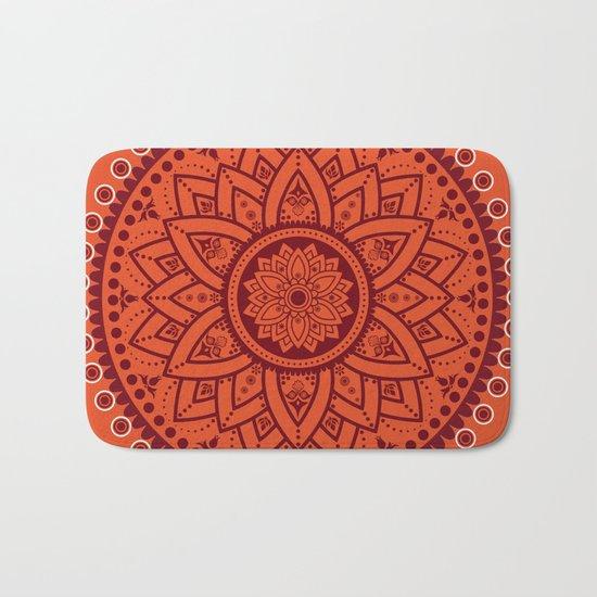 Cinnamon Spice Circle Flower Mandala Bath Mat