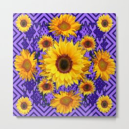 Purple Patterns Yellow Sunflowers Abstract Art Metal Print