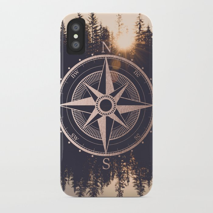 rose gold compass forest iphone case