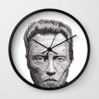 christopher walken Wall Clocks featuring Christopher by Rik Reimert