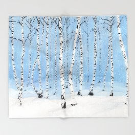 Late Afternoon Snowstorm in the Forest Throw Blanket