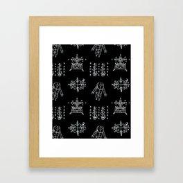 Papa Legba + Baron Samedi + Gran Bwa + Damballah-Wedo Voodoo Veve Symbols in Black Framed Art Print