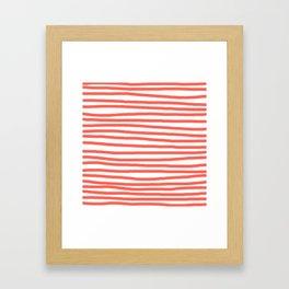 Hand Drawn Stripes Living Coral Framed Art Print