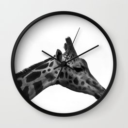 Giraffe in Black and White Wall Clock