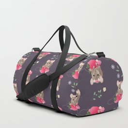 Charming Hungry Little Mouse pattern(purple) Duffle Bag