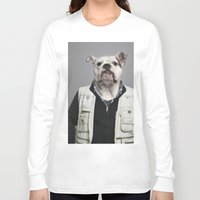 english bulldog Long Sleeve T-shirts featuring English Bulldog Worker by Life on White Creative