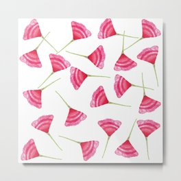 Pretty Pink and Green Scattered Flower Pattern Metal Print