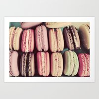 macarons Art Prints featuring Macarons by elle moss
