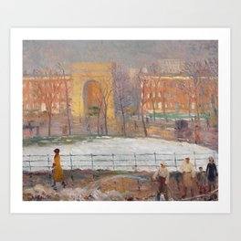 Street Cleaners, Washington Square by William Glackens, 1910 Art Print