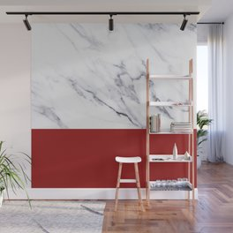 White Marble Red Hot Striped Wall Mural