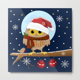 Owl's Christmas in a snowy world Metal Print