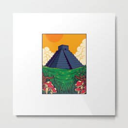 Aztec Pyramids Lanscape Illustration Metal Print