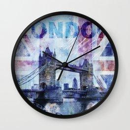 London Tower Bridge Mixed Media Art Wall Clock
