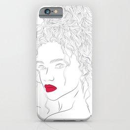 Lady Christmas Line Art iPhone Case