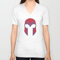 magneto V-neck T-shirts featuring Magneto Helmet by Minimalist Heroes