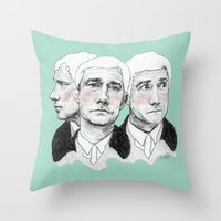 john green Throw Pillows featuring John Watson by Cécile Pellerin