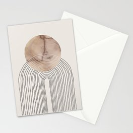 Abstract Circle and Lines in Marble on Cream Stationery Cards