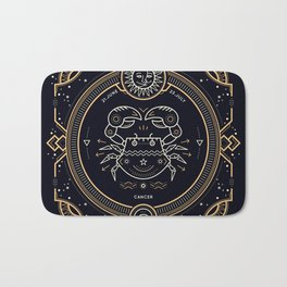 Cancer Zodiac Gold White with Black Background Bath Mat