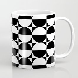 Mid Century Modern Half Circles Pattern Black and White Coffee Mug
