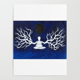 Meditation Under Dark Moon Poster