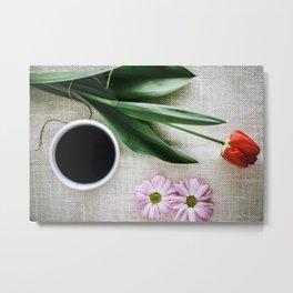 Color Print Coffee & Flowers Metal Print