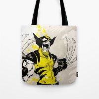 berserk Tote Bags featuring Wolverine - Berserker by RISE Arts