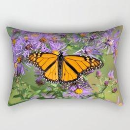Monarch Butterfly on Wild Aster Flower Rectangular Pillow