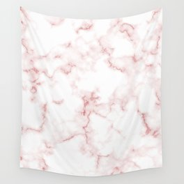 Pink Rose Gold Marble Natural Stone Gold Metallic Veining White Quartz Wall Tapestry
