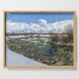 Grand Tetons from Willow Flats in Early April Serving Tray
