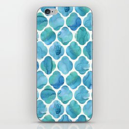 Watercolour Blue Moroccan Tile Print iPhone Skin