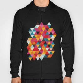 Vintage Summer Color Palette - Hipster Geometric Triangle Pattern Hoody
